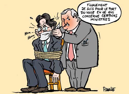 Humour luc ferry pr sente son projet de loi sur le port - Loi interdisant le port du voile en france ...