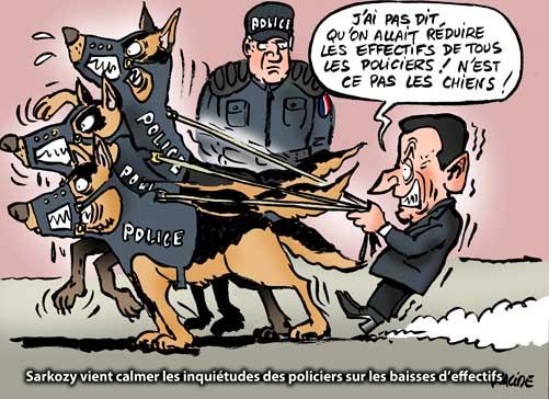 Sarkozy vient flatter la police qui commence à protester