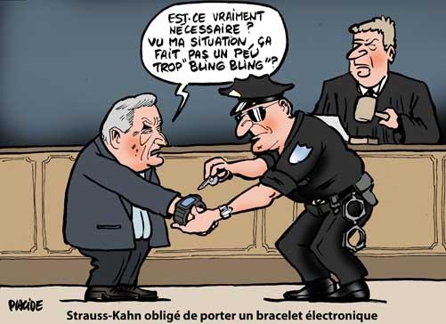 Strauss-Kahn libéré sous caution avec un bracelet électronique