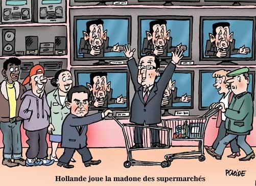 Bain de foule pour Hollande au centre commercial d' Evry