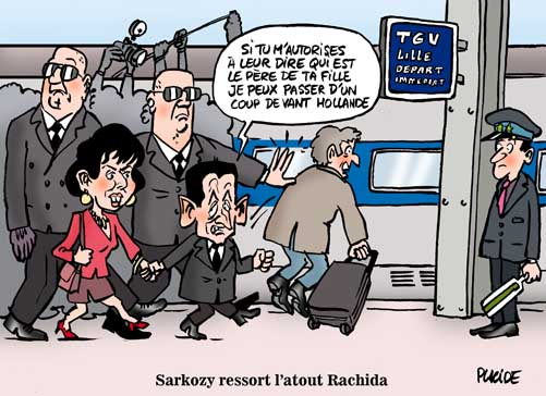 Le candidat Sarkozy embarque avec Rachida Dati pour Lille