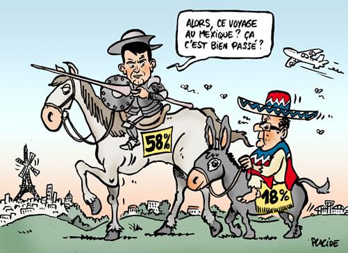 La cote de popularité de Valls s'envole et Hollande chute