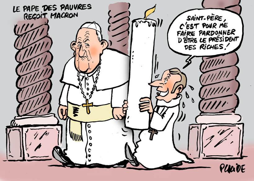 Le dessin du jour (humour en images) - Page 17 18-06-26-pape-francois-macron